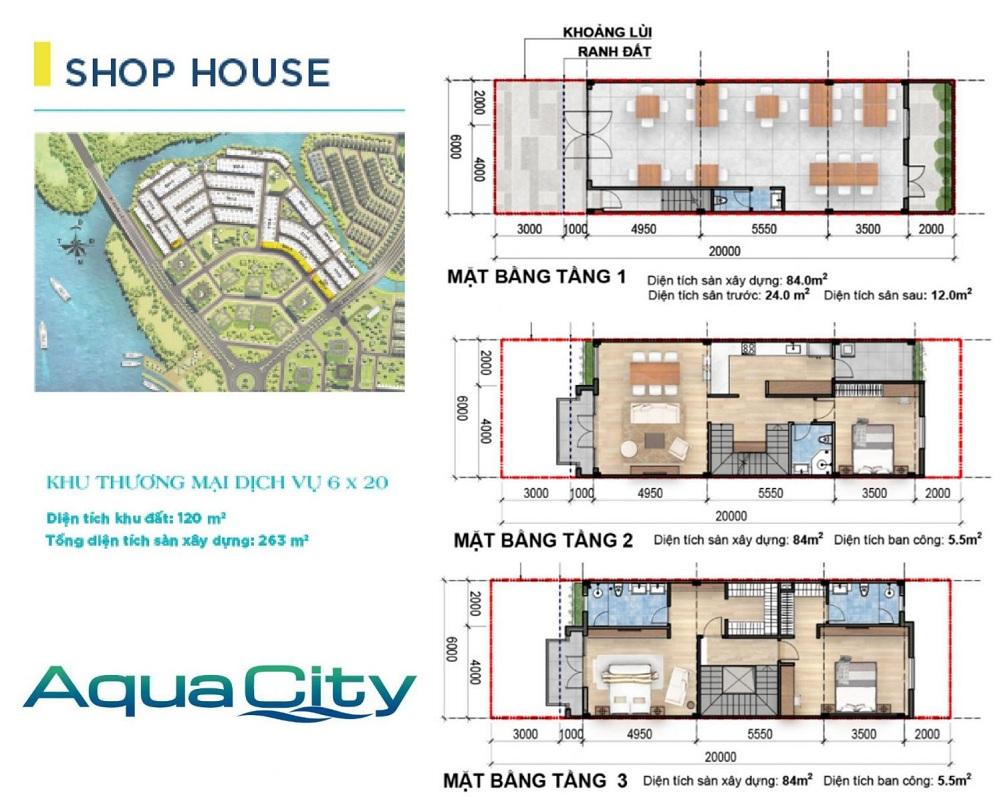 Mặt bằng thiết kế Shophouse Aqua City Biên Hòa 6×20